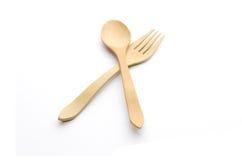 Forchetta e cucchiaio di legno immagini stock libere da diritti