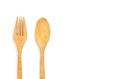 Forchetta e cucchiaio di legno fotografia stock