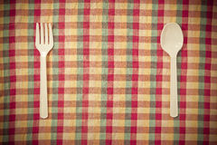Forchetta e cucchiaio di plastica Immagini Stock Libere da Diritti