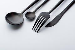 Forchetta, lama e cucchiaio immagine stock libera da diritti