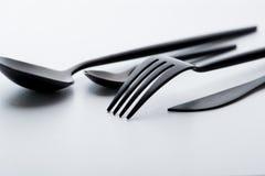 Forchetta, lama e cucchiaio fotografie stock