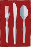 Forchetta, lama e cucchiaio Fotografia Stock