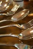 Forchette e cucchiai Immagini Stock Libere da Diritti