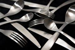 Forchette e cucchiai delle lame Immagine Stock Libera da Diritti