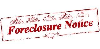 Forclosure meddelande Arkivfoto