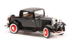 Ford 1932 3-Window Coupe. 1932 Ford 3-Window coupe, Yatming Road Legends 1:18 scale diecast, right front view Royalty Free Stock Photography