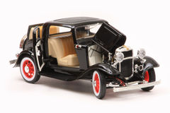 Ford 1932 3-Window Coupe. 1932 Ford 3-Window coupe, Yatming Road Legends 1:18 scale diecast, right front view, opened features Stock Photos