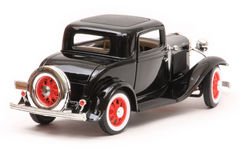 Ford 1932 3-Window Coupe. 1932 Ford 3-Window coupe, Yatming Road Legends 1:18 scale diecast, right rear view Stock Photo