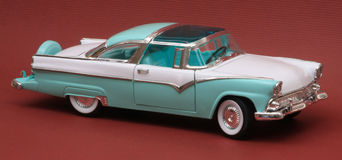 Ford 1955 Fairlane Crown Victoria. 1955 Ford Fairlane Crown Victoria, Yat Ming Road Legends 1:18 scale, right side view Stock Image