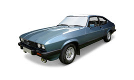 Ford Capri. A classic Ford Capri coupe on white background stock images