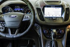 Ford Car Dashboard Close View moderno imagem de stock