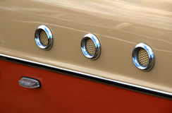 Ford consul panel detail. Photo of a british ford consul two tone panels showing chrome detail royalty free stock images