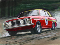 Ford Cortina MkII Rally. Illustration of a Ford Cortina MkII Rally car Stock Photos