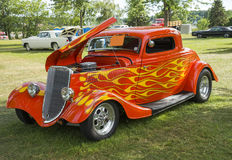 1933 ford coupe. Picture of the 1933 ford coupe - orange with flames Stock Images