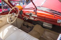 1950 Ford Dashboard. MATTHEWS, NC - September 4, 2017: Interior of a 1950 Ford Custom on display at the Matthews Auto Reunion & Motorcycle Show stock photos