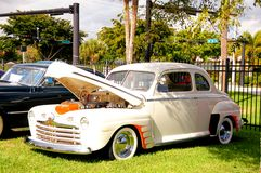 Ford Deluxe 1946. Old 1946 Ford Deluxe car in a park in south Florida stock image