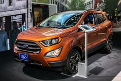 Ford Ecosport SES. NEW YORK CITY-MARCH 28: Ford Ecosport SES shown at the New York International Auto Show 2018, at the Jacob Javits Center. This was Press Royalty Free Stock Photos