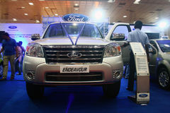Ford Endeavour SUV at Auto World Expo 2011. Silver color Ford Endeavour SUV car at Auto World Expo 2011, Chennai Trade Centre (India Royalty Free Stock Photo