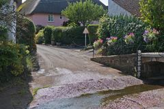 Ford at the entrance to a Devon village UK Royalty Free Stock Photo