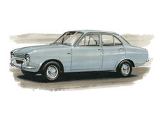 Ford Escort Mk1 1970 London to Mexico Rally. Illustration of a Ford Escort MkI Stock Image