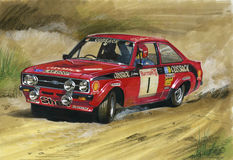 Ford Escort MkII RS1800 Rally Cossack. Illustration of a Ford Escort Mk2 RS1800 Rally Cossack (LAR800P) Welsh Royalty Free Stock Photo