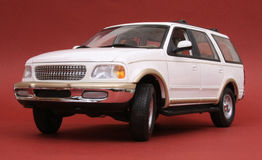 Ford Expedition. White, U T Models 1:18 scale diecast, left front view, low angle Royalty Free Stock Image