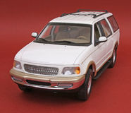 Ford Expedition. White, U T Models 1:18 scale diecast, front view, high angle Royalty Free Stock Image
