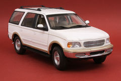 Ford Expedition. White, U T Models 1:18 scale diecast, front view, high angle Stock Images