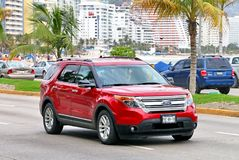 Ford Explorer. Acapulco, Mexico - May 30, 2017: Red motor car Ford Explorer in the city street royalty free stock image