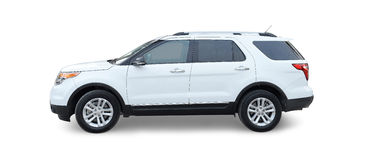 Ford Explorer. A white Ford Explorer SUV on white background stock images