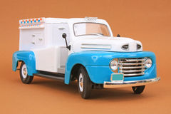 Ford F-1 Ice Cream Truck 1948. 1948 Ford F-1 Ice Cream Truck, Yatming Road Legends 1:18 scale diecast, right front view, low angle Royalty Free Stock Photos