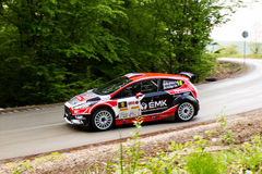 Ford Fiesta R5 on Miskolc Rally Hungary. 2016 ifj. Kiss László Varga Zsuzsanna Royalty Free Stock Photo
