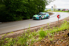 Ford Fiesta R5 på Miskolc samlar Ungern Royaltyfria Foton