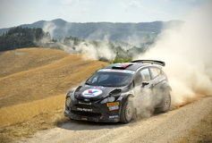 Ford Fiesta rally car. The italian driver Giandomenico Basso steers his Ford Fiesta  during the 40th edition of the San Marino Rally, valid for IRC Stock Photography