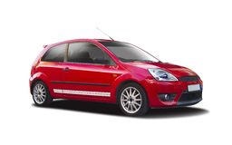 Ford Fiesta. Red Ford Fiesta isolated on white Stock Images