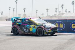 Ford Fiesta ST M-Sport driven by #14 Austin Dyne. San Pedro, CA - October 14, 2017: Ford Fiesta ST M-Sport driven by #14 Austin Dyne during the Red Bull GRC Royalty Free Stock Photo