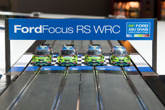 Ford Focus RS WRC toy car-racing track. MOSCOW, RUSSIA - August 26: Moscow International Automobile Salon 2010. Ford Focus RS WRC toy car-racing track Royalty Free Stock Image