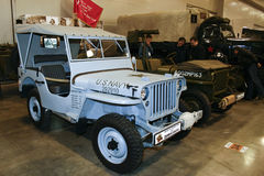FORD GPW 1/4 TON 4X4 ARMY JEEP. MOSCOW - MARCH 25: FORD GPW 1/4 TON 4X4 ARMY JEEP at the Moscow Exhibition of technical antiques on March 25, 2011 in Moscow Stock Images