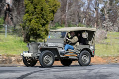 1942 Ford GPW Jeep. Adelaide, Australia - September 25, 2016: Vintage 1942 Ford GPW Jeep driving on country roads near the town of Birdwood, South Australia Royalty Free Stock Images