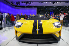 Ford GT bij Internationale Auto van New York toont, vooraanzicht jpg stock foto's