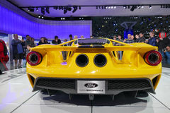 Ford GT an internationaler Automobilausstellung New York, hintere Ansicht jpg Lizenzfreie Stockbilder