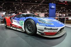 Ford GT samochód wyścigowy jest na Dubaj Motorowym przedstawieniu 2017 Fotografia Royalty Free