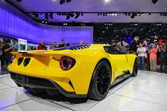 Ford GT, sports car at New York International Auto Show, rear view Stock Photos