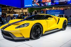 Ford GT 600 Supercar. Las Vegas, NV, Jan. 9, 2016: Ford Motor Company displays the new GT-600 hp supercar at the 2016 2016 Consumer Electronics Show (CES royalty free stock photos