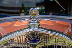 1930 Ford hood ornament. Hood ornament on a 1930 Ford  at a Gig Harbor Wa. car show.   22 July 2011 Stock Photo