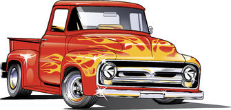 1954 Ford Hotrod truck. 1954 Ford pickup in spot colors and flames royalty free illustration