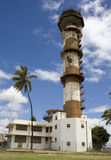 Ford Island Air Force Base Air Tower. Vertical view of the WWII-era, U.S. Air Force air tower at Ford Island, Honolulu, Hawaii Royalty Free Stock Photo