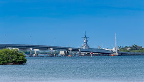 Ford Island Bridge. A view of the Mighty Mo, USS Missouri, parked behind the Ford Island Bridge Royalty Free Stock Photos