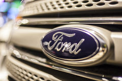 Ford logo on a car Stock Photo