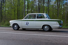 1965 Ford Lotus Cortina bij ADAC Wurttemberg Historische Rallye 2013 Stock Foto's